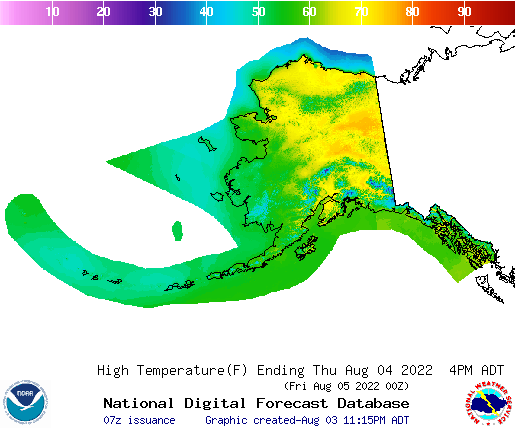 Alaska high temperature forecast
