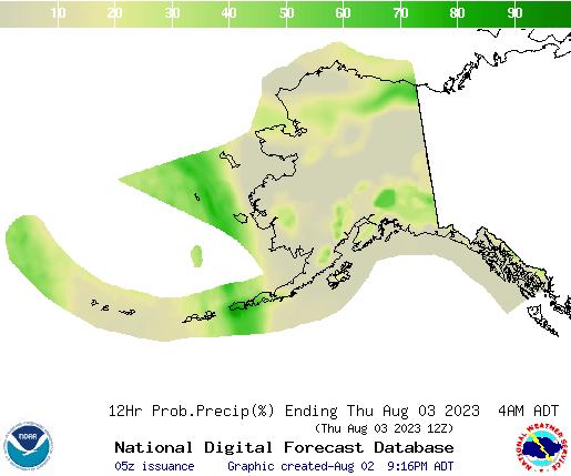 Alaska 12 hourly probability of precipitation