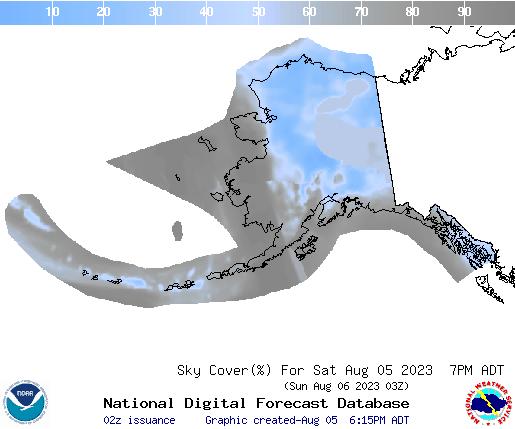 Alaska 6 hourly forecast cloud cover