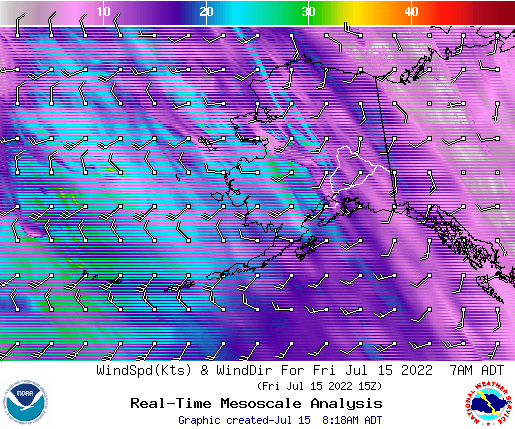 Alaska 6 hourly wind forecast