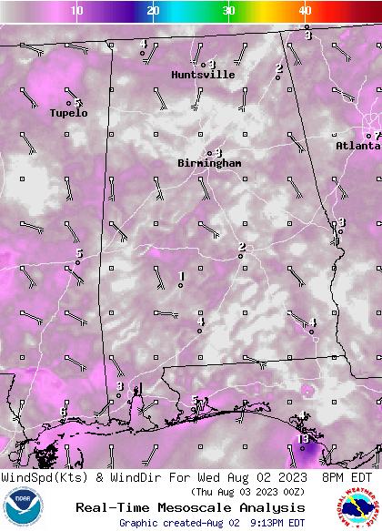 Alabama Wind forecast for the next 7 days; CLICK for Alabama current