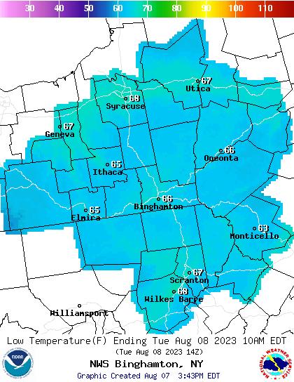 BGM Next Low Temp Forecast Map