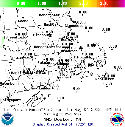 Image of forecasted precipitation amounts over the Southern New England