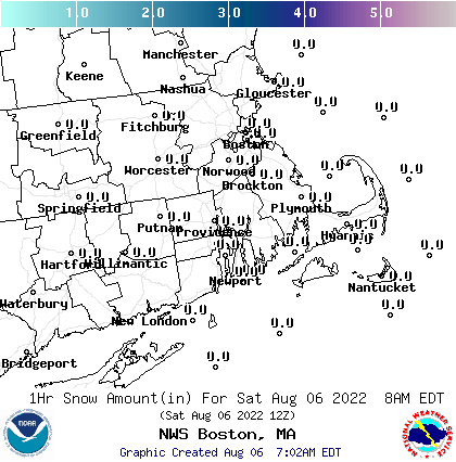 Image of forecasted snow amounts across Southern New England