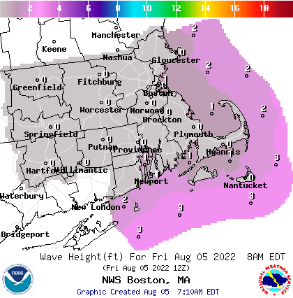 Image of forecasted wave heights over the southern New England Coastal waters