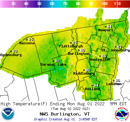 BTV Weather Next High Forecast Map