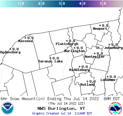 BTV 12 Hour Snowfall Forecast Report