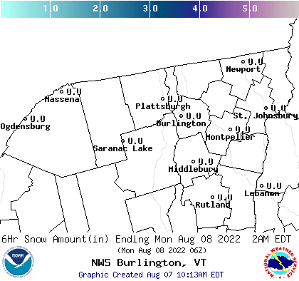 BTV 24 Hour Snowfall Forecast Report