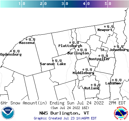 BTV 18 Hour Snowfall Forecast Report