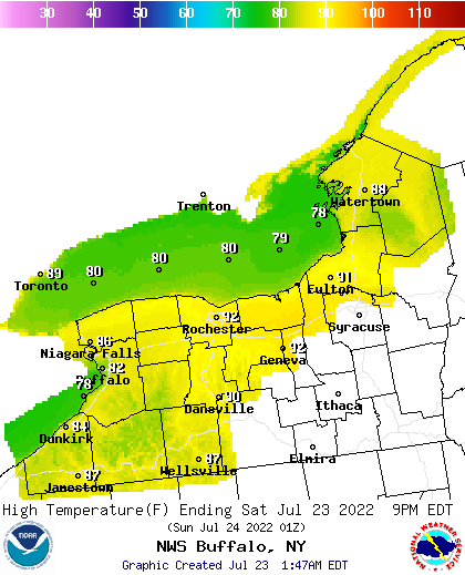 BUF High Temp Forecast Map