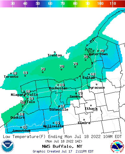 BUF Low Temp Forecast Map