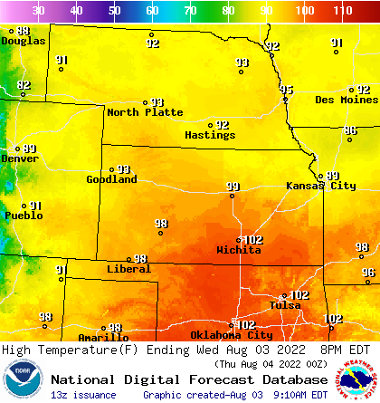 Bismark High Temperature, Bismark Low Temperature, Rapid City High Temperature, Rapid City Low Temperature, Billings High Temperature, Billings Low Temperature, Havre High Temperature, Havre Low Temperature
