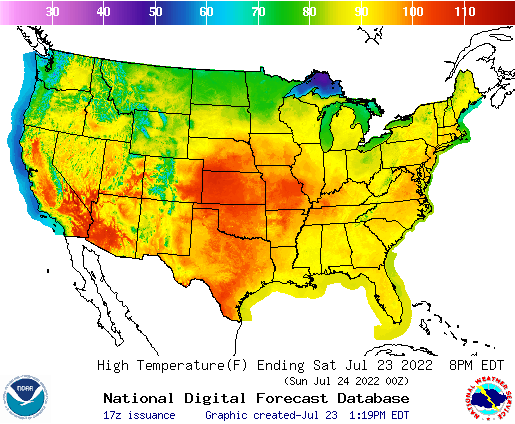 NOAAs National Weather Service Graphical Forecast - Weather across the us map