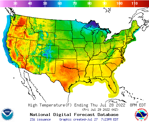 NOAA\'s National Weather Service - Graphical Forecast