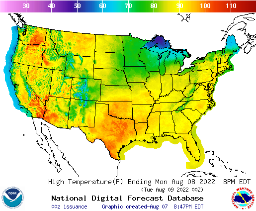 high temperature weather forecast map