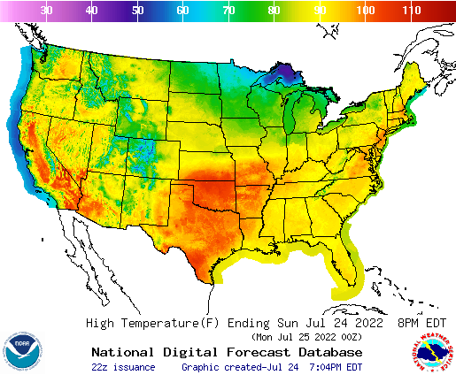 Weather Street: U.S. 7-Day Maximum Temperature Forecast