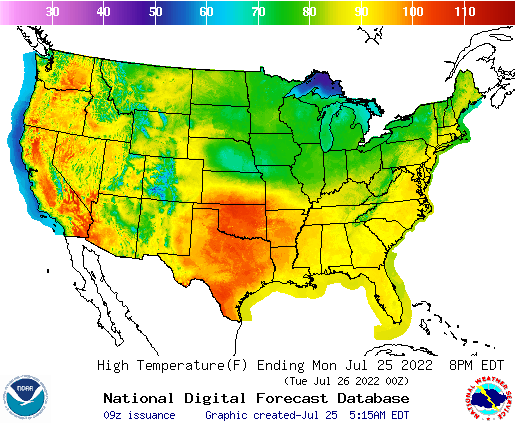 NWS High Temps
