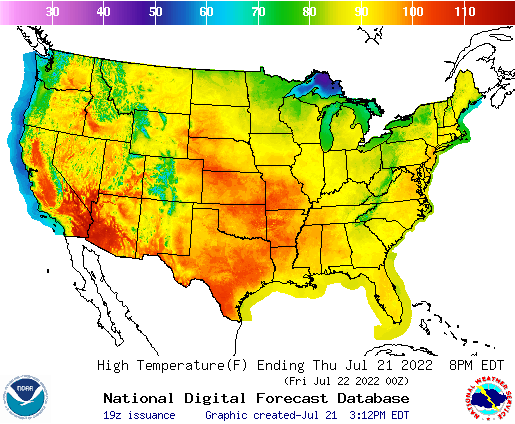 Today's high temperature forecast for the continental United States.  Click for a complete set of national forecast graphics.