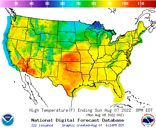 Selection Map of Temperatures Across the US from the National Digital Forecast Database