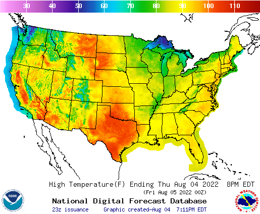 U.S. forecast high temperatures for next 7 days