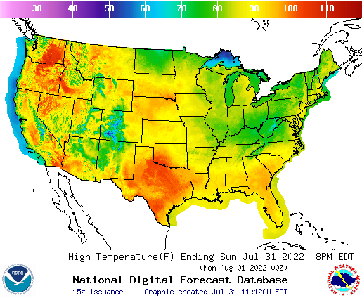Day 1 US High Temperature Forecast