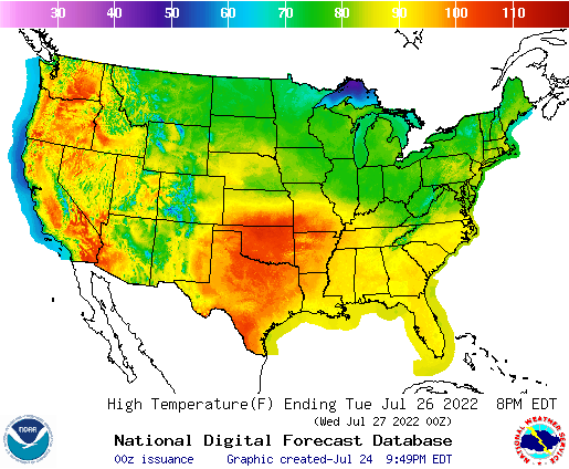 United States 48 Hour National High And Low Temperature Weather
