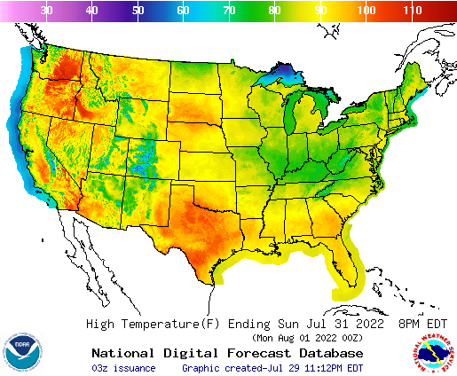 Daily Max Temp Forecasts Tomorrow