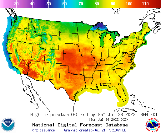 National Weather Service: High Temp Map