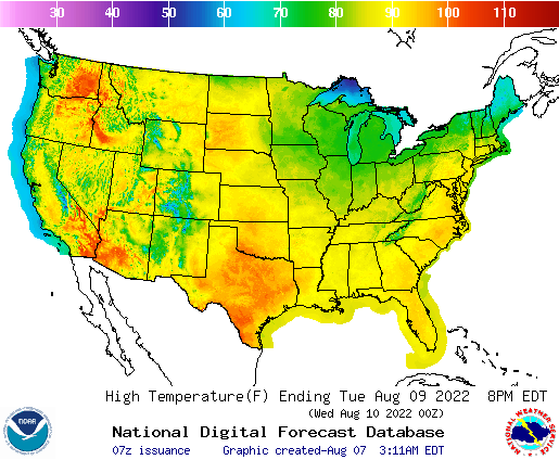Day 3 US High Temperature Forecast