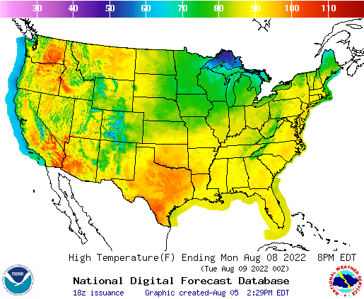 Daily Max Temp Forecast 3 Days Out