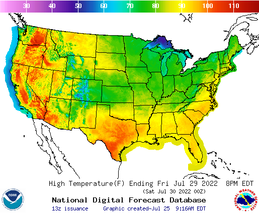 Daily Max Temp Forecast 4 Days Out