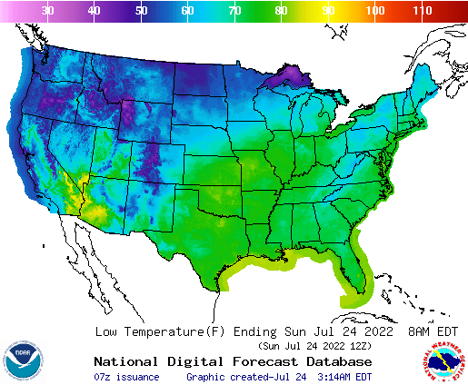 United States 24 Hour National High And Low Temperature Weather - Us-map-weather-forecast