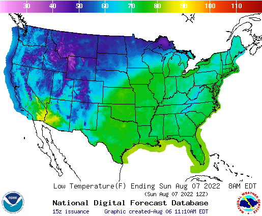 U.S. Low temperatures for the next 7 days