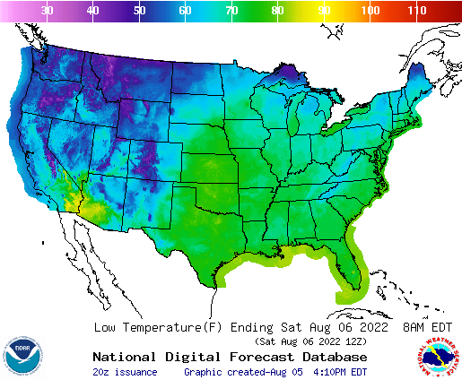 Graphic Forecast of Temperatures Across the US from the National Digital Forecast Database
