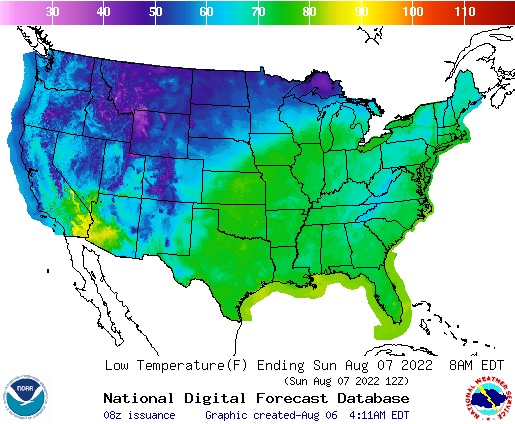 United States Hour National High And Low Temperature Weather - Us map with temperatures