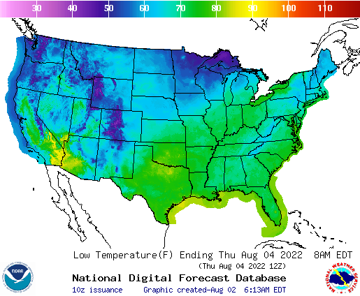 National Weather Service: Low Temp Map