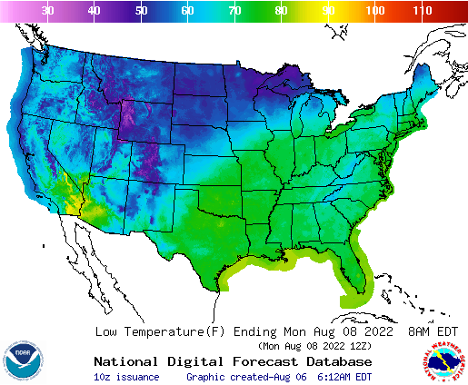 Daily Min Temp Forecast 3 Days Out