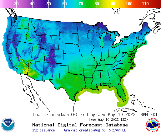 Daily Min Temp Forecast 4 Days Out