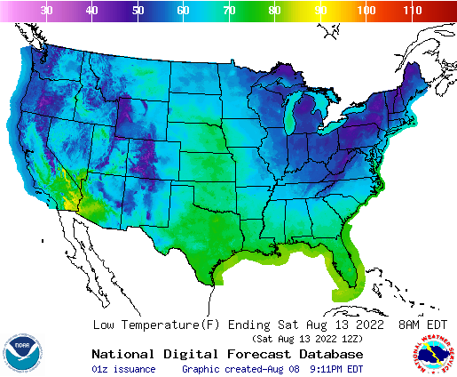 Daily Min Temp Forecast 5 Days Out