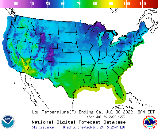 Daily Min Temp Forecast 6 Days Out