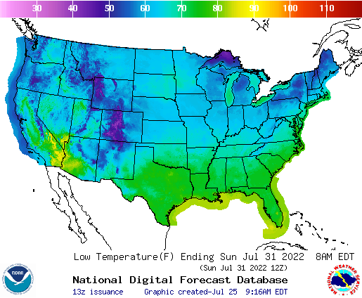 United States 168 Hour National High And Low Temperature Weather
