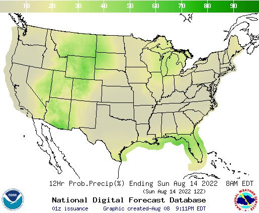United States 120 to 132 Hour Precipitation Probability