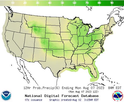 United States 120 to 132 Hour Precipitation Probability