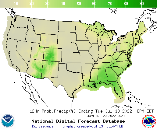 United States 132 to 144 Hour Precipitation Probability