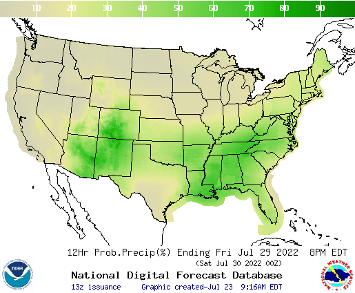 United States 144 to 156 Hour Precipitation Probability