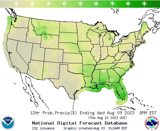 United States 144 to 156 Hour Precipitation Probability