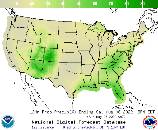 United States 156 to 168 Hour Precipitation Probability