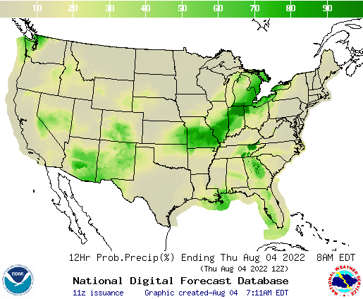 Weather Street US Day Precipitation Forecast - Precipitation map of us