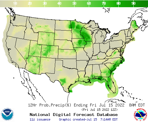 United States 12 Hour Precipitation Probability
