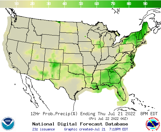 U.S. 12 hourly probability of precipitation forecast for next 7 days